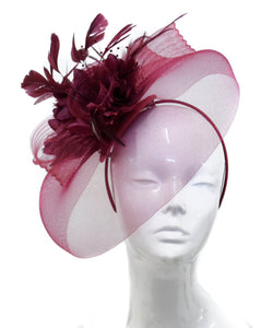 Caprilite Big Burgundy Fascinator Hat Veil Net Hair Clip Ascot Derby Races Wedding Headband Feather Flower