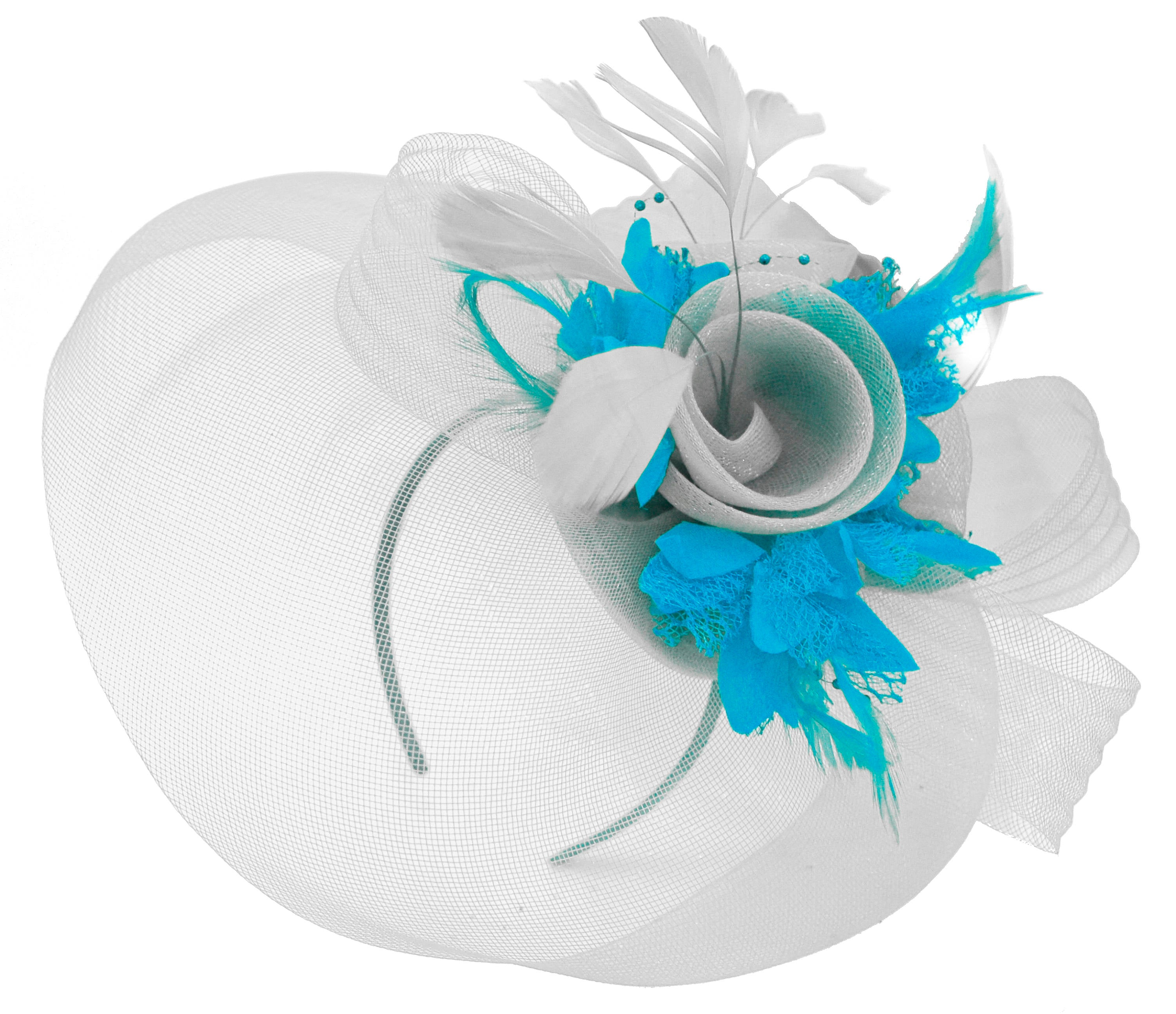Caprilite Grey Silver and Aqua Fascinator on Headband Veil UK Wedding Ascot Races Hatinator