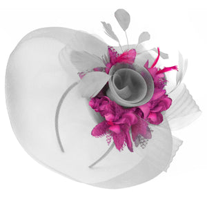 Caprilite Grey Silver and Fuchsia Hot Pink Fascinator on Headband Veil UK Wedding Ascot Races Hatinator