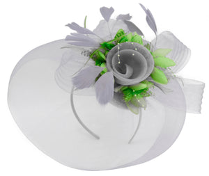 Caprilite Grey Silver and Lime Green Fascinator on Headband Veil UK Wedding Ascot Races Hatinator