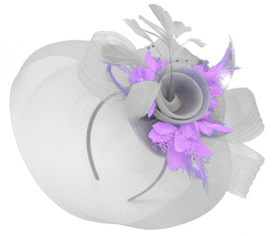 Caprilite Grey Silver and Lilac Purple Fascinator on Headband Veil UK Wedding Ascot Races Hatinator