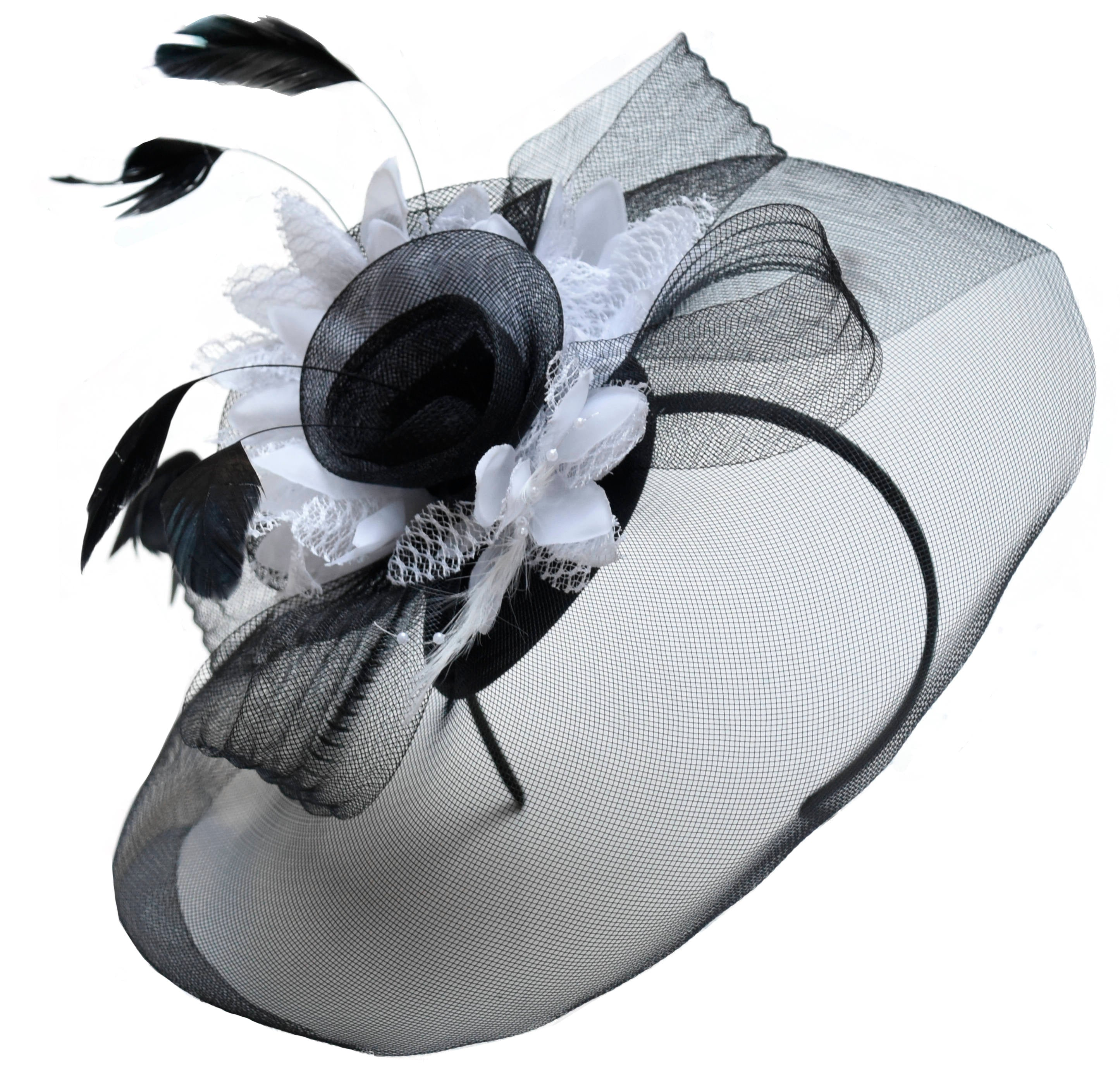 Caprilite Big Black and White Fascinator Hat Veil Net Hair Clip Ascot Derby Races Wedding Headband Feather Flower