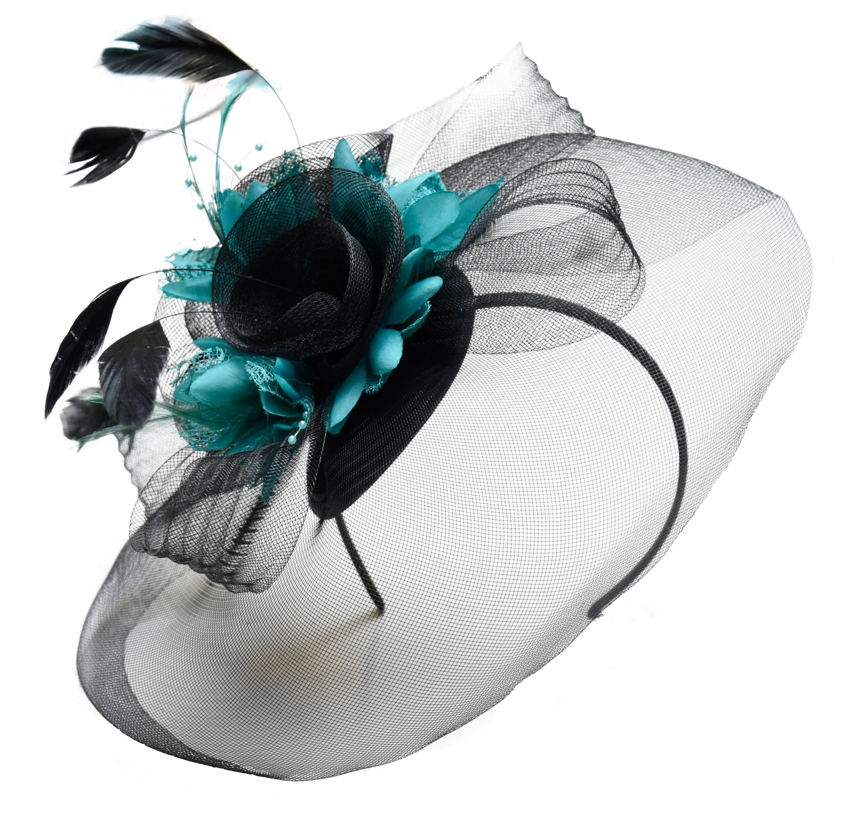Caprilite Big Black and Turquoise Fascinator Hat Veil Net Hair Clip Ascot Derby Races Wedding Headband Feather Flower