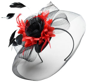 Caprilite Big Black and Red Fascinator Hat Veil Net Hair Clip Ascot Derby Races Wedding Headband Feather Flower