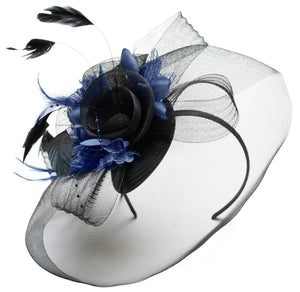 Caprilite Big Black and Navy Fascinator Hat Veil Net Hair Clip Ascot Derby Races Wedding Headband Feather Flower