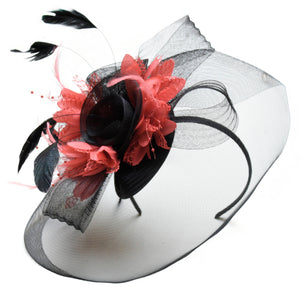 Caprilite Big Black and Coral Fascinator Hat Veil Net Hair Clip Ascot Derby Races Wedding Headband Feather Flower