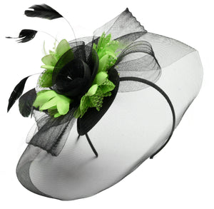Caprilite Big Black and Lime Green Fascinator Hat Veil Net Hair Clip Ascot Derby Races Wedding Headband Feather Flower