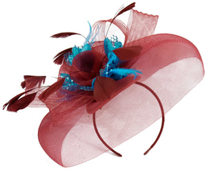 Caprilite Big Burgundy AquaFascinator Hat Veil Net Hair Clip Ascot Derby Races Wedding Headband Feather Flower
