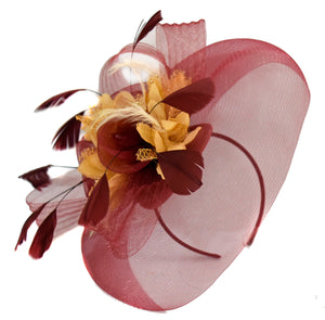 Caprilite Big Burgundy Beige Fascinator Hat Veil Net Hair Clip Ascot Derby Races Wedding Headband Feather Flower