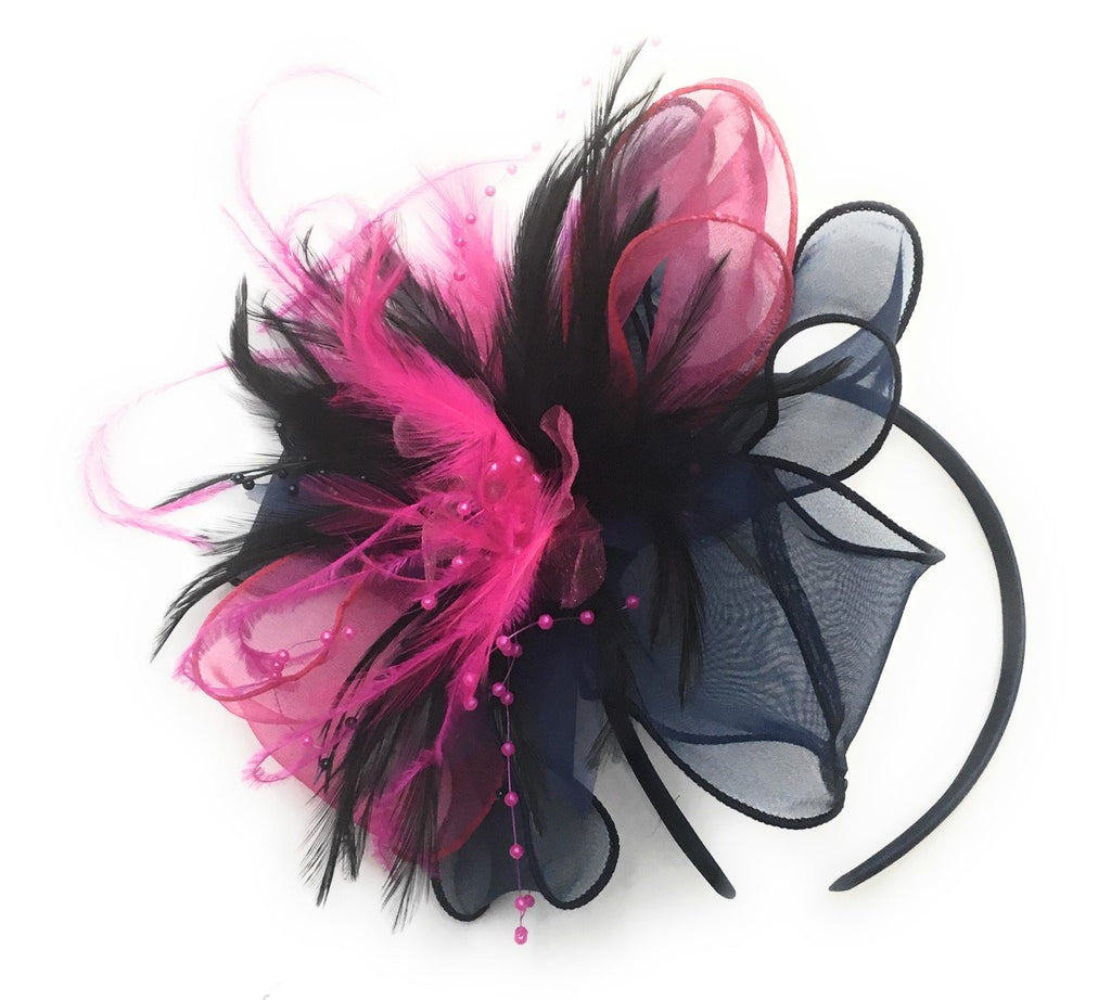 Caprilite Navy, Black and Fuchsia Pink Chiffon Feathers Fascinator Headband Ascot Wedding