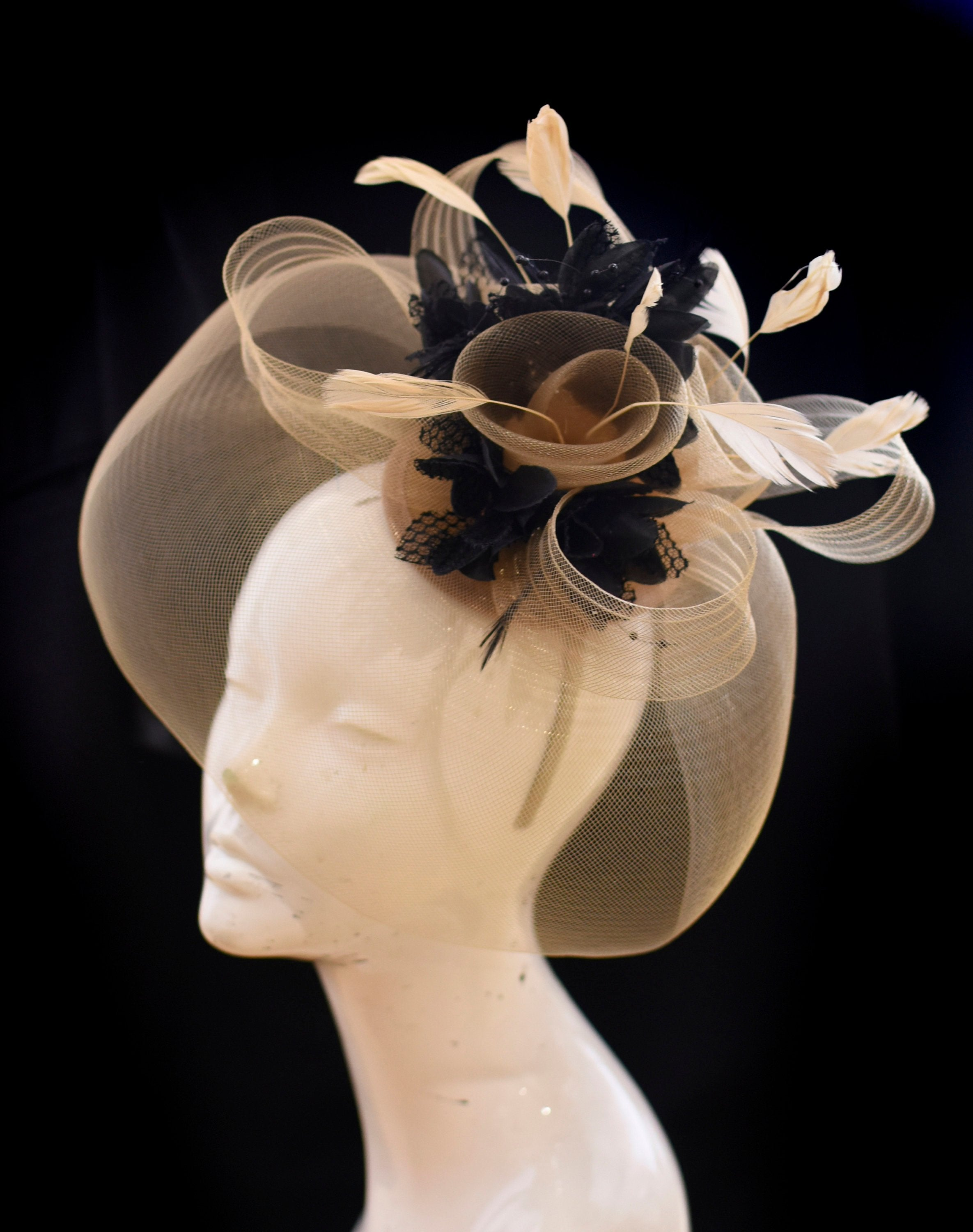 Caprilite Beige Camel and Black Fascinator Hat Veil Net Hair Clip Ascot Derby Races Wedding Headband Feather Flower