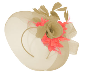 Caprilite Beige Camel and Coral Fascinator Hat Veil Net Hair Clip Ascot Derby Races Wedding Headband Feather Flower