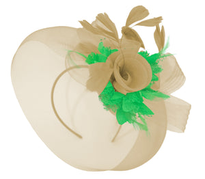 Caprilite Beige Camel and Grass Green Fascinator Hat Veil Net Hair Clip Ascot Derby Races Wedding Headband Feather Flower