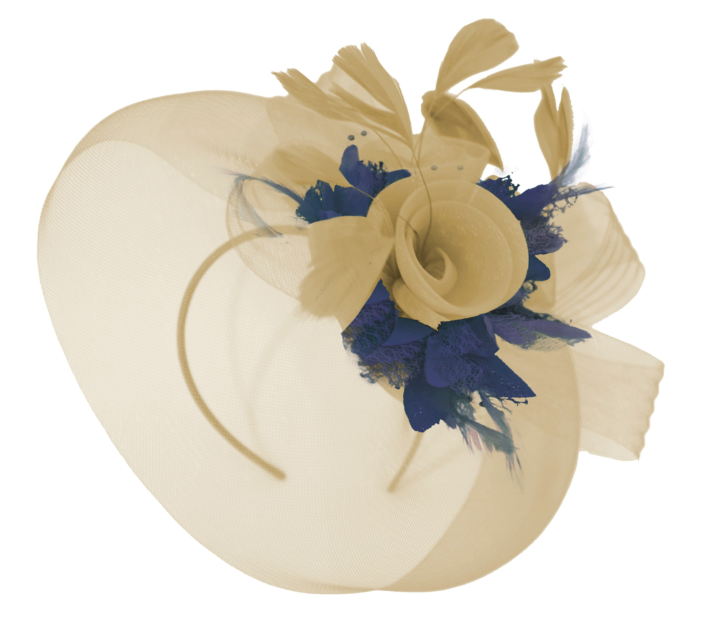 Caprilite Beige Camel and Navy Fascinator Hat Veil Net Hair Clip Ascot Derby Races Wedding Headband Feather Flower