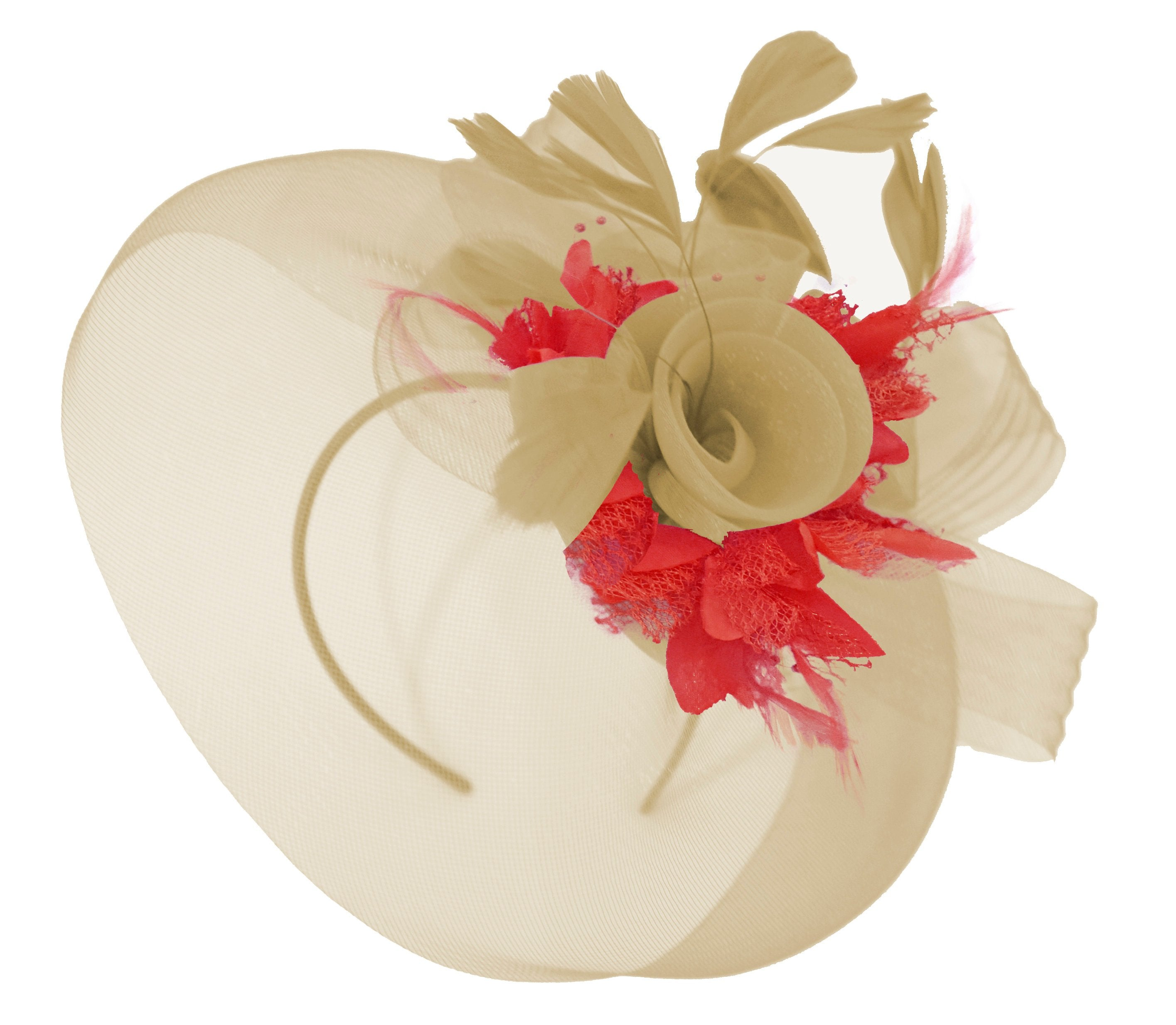Caprilite Beige Camel and Red Fascinator Hat Veil Net Hair Clip Ascot Derby Races Wedding Headband Feather Flower