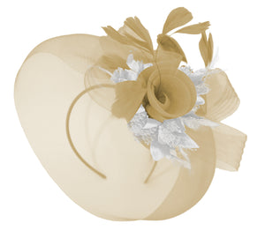 Caprilite Beige Camel and silver Fascinator Hat Veil Net Hair Clip Ascot Derby Races Wedding Headband Feather Flower