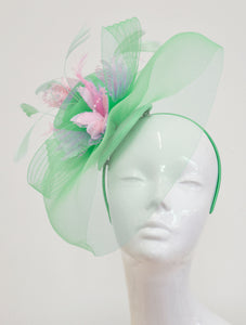 Caprilite Big Mint Green and Baby Pink Fascinator Hat Veil Net Ascot Derby Races Wedding Headband Feather