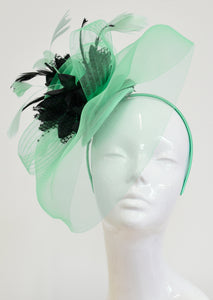 Caprilite Big Mint Green and Black Fascinator Hat Veil Net Ascot Derby Races Wedding Headband Feather
