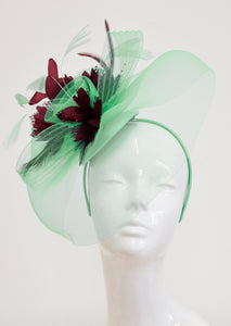 Caprilite Big Mint Green and Burgundy Fascinator Hat Veil Net Ascot Derby Races Wedding Headband Feather