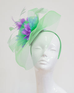 Caprilite Big Mint Green and Lilac Fascinator Hat Veil Net Ascot Derby Races Wedding Headband Feather