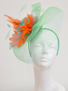 Caprilite Big Mint Green and Orange Fascinator Hat Veil Net Ascot Derby Races Wedding Headband Feather
