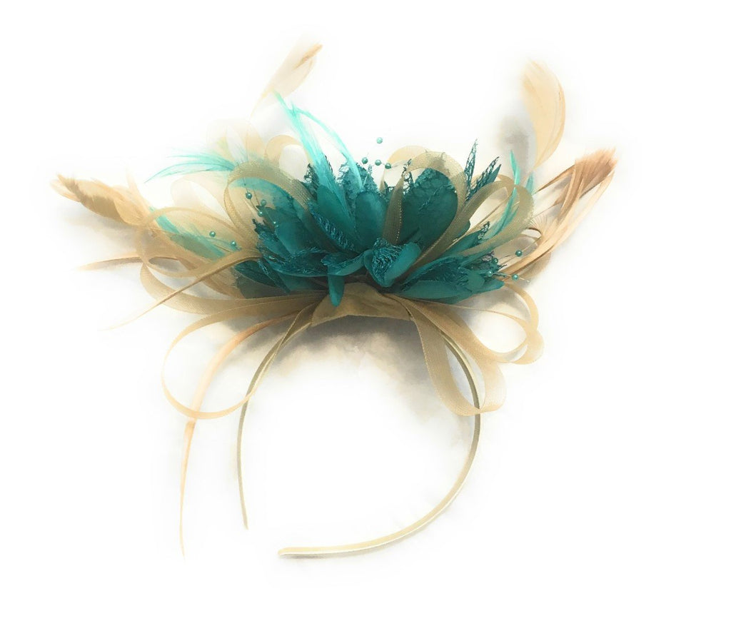 Caprilite Champagne Gold Beige Camel and Turquoise Green Fascinator on Headband Alice Band UK Wedding Ascot Races Derby