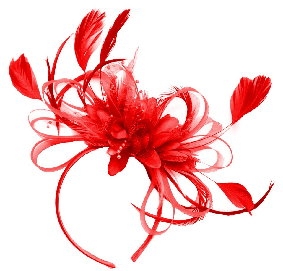 Caprilite Red Hoop Feathers Fascinator on Headband Ascot Wedding