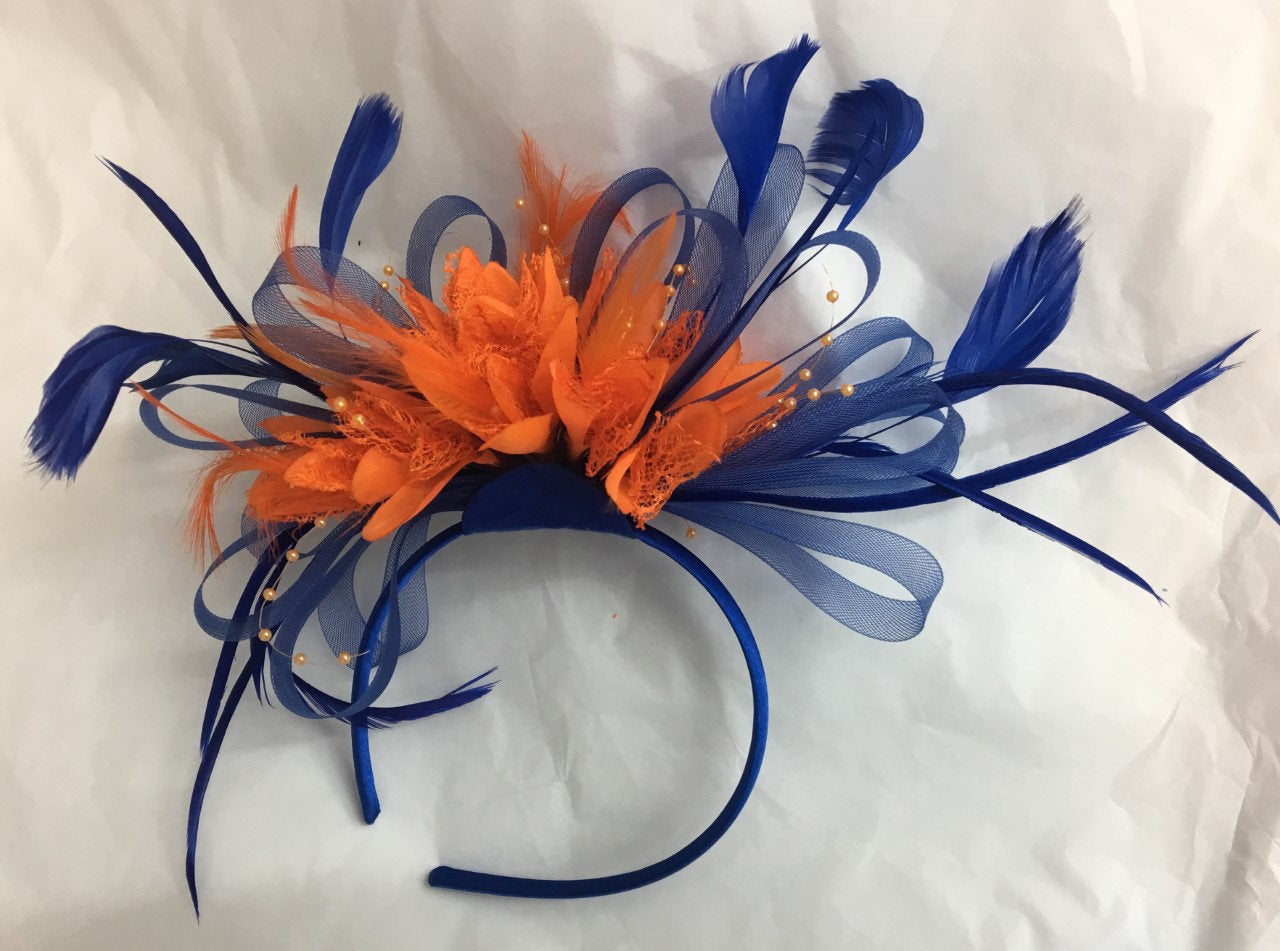 Caprilite Electric Royal Blue Hoop and Orange Feathers Fascinator on Headband