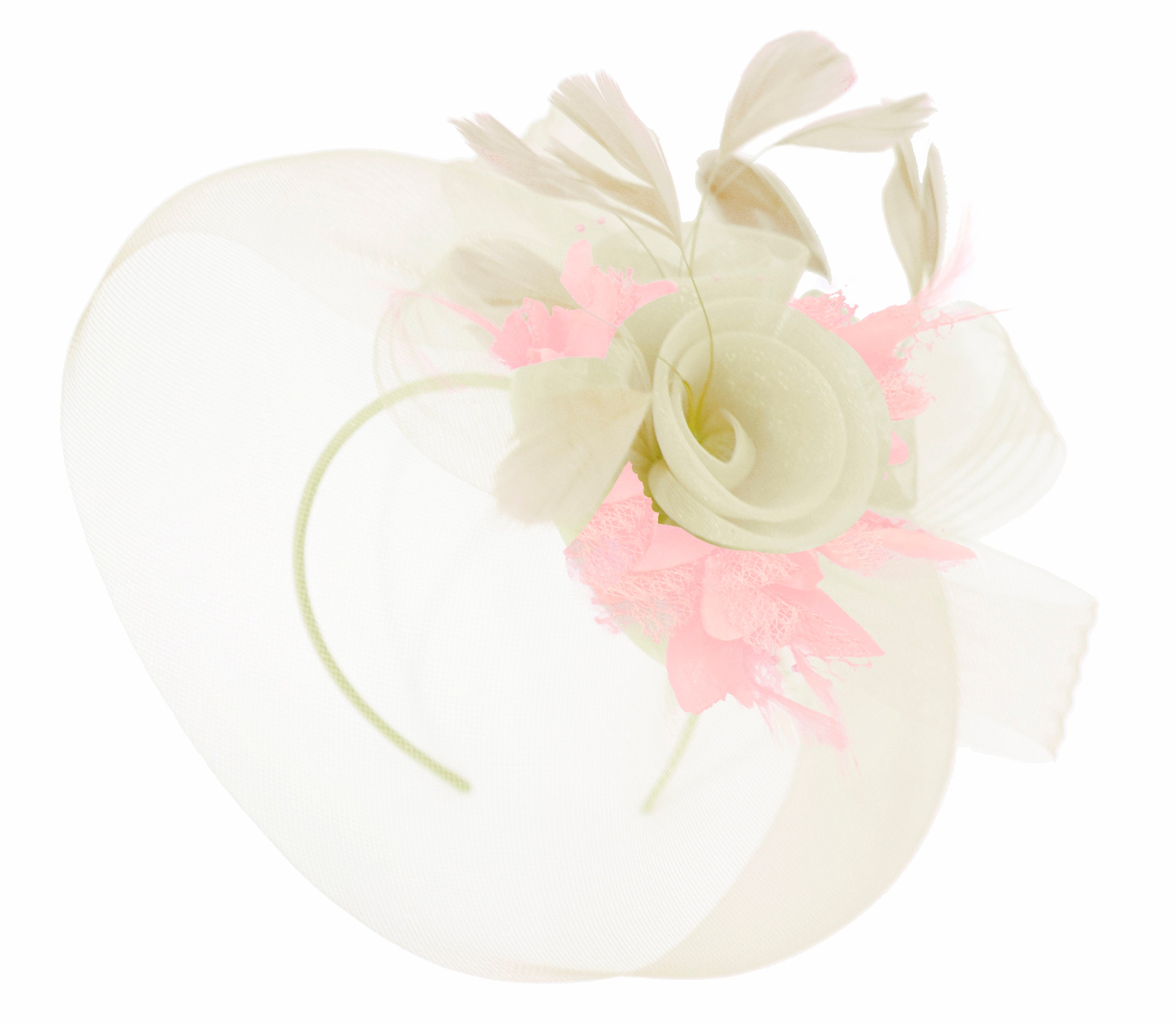 Caprilite Cream and Baby Pink Fascinator on Headband Veil UK Wedding Ascot Races Hatinator Women