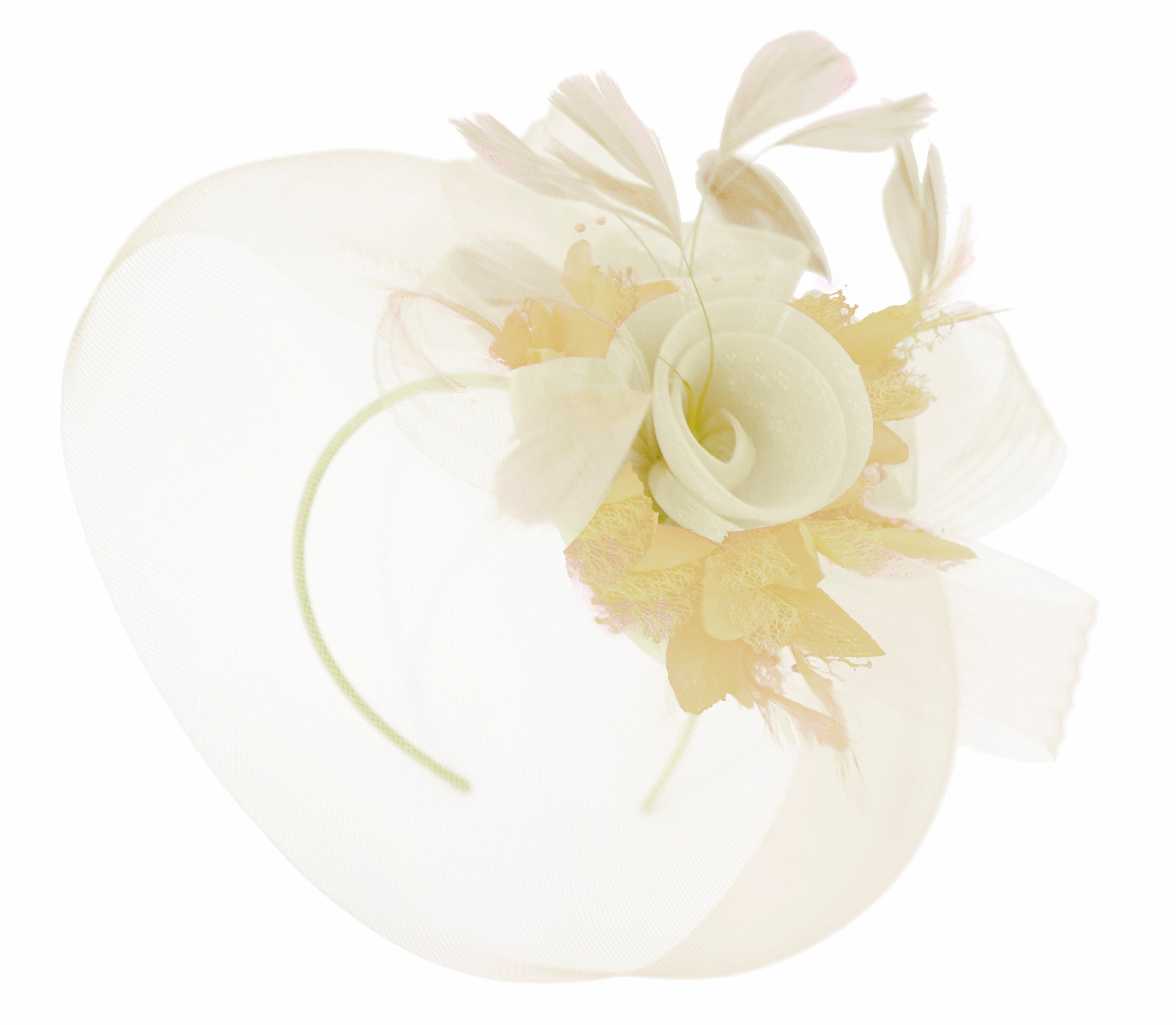 Caprilite Cream and Beige Fascinator on Headband Veil UK Wedding Ascot Races Hatinator Women