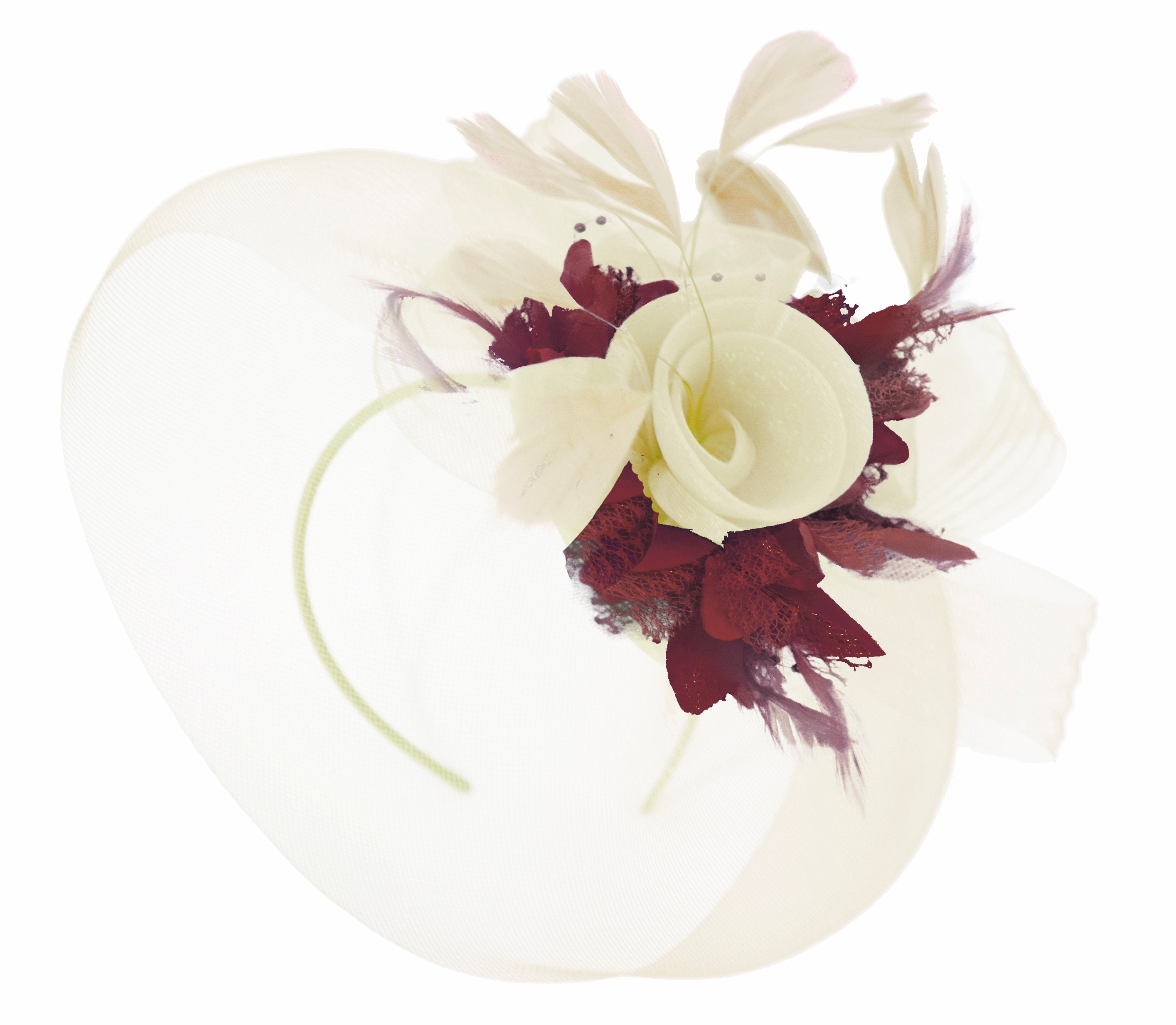 Caprilite Cream and Burgundy Fascinator on Headband Veil UK Wedding Ascot Races Hatinator Women