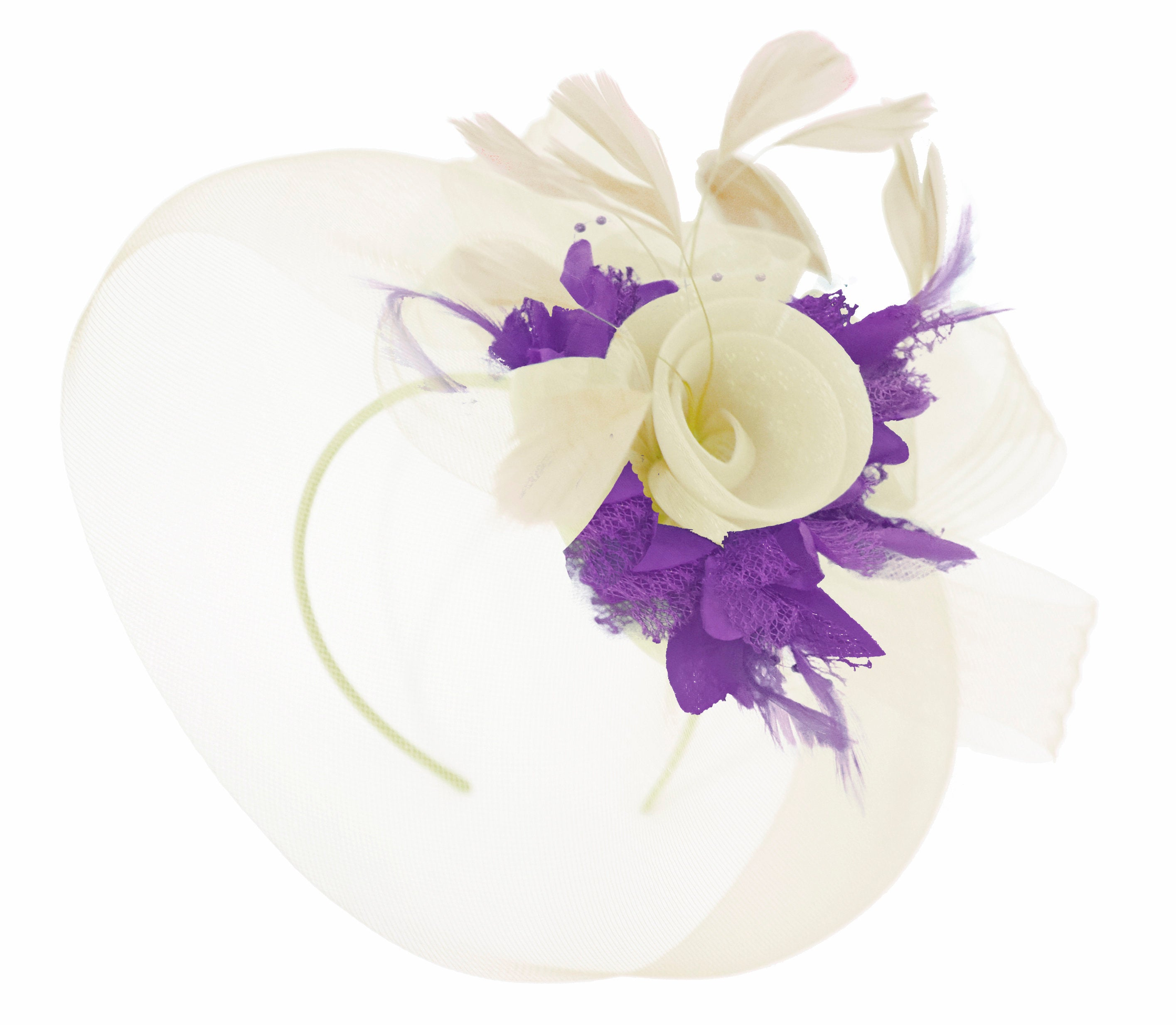 Caprilite Cream and Cadbury Purple Fascinator on Headband Veil UK Wedding Ascot Races Hatinator Women