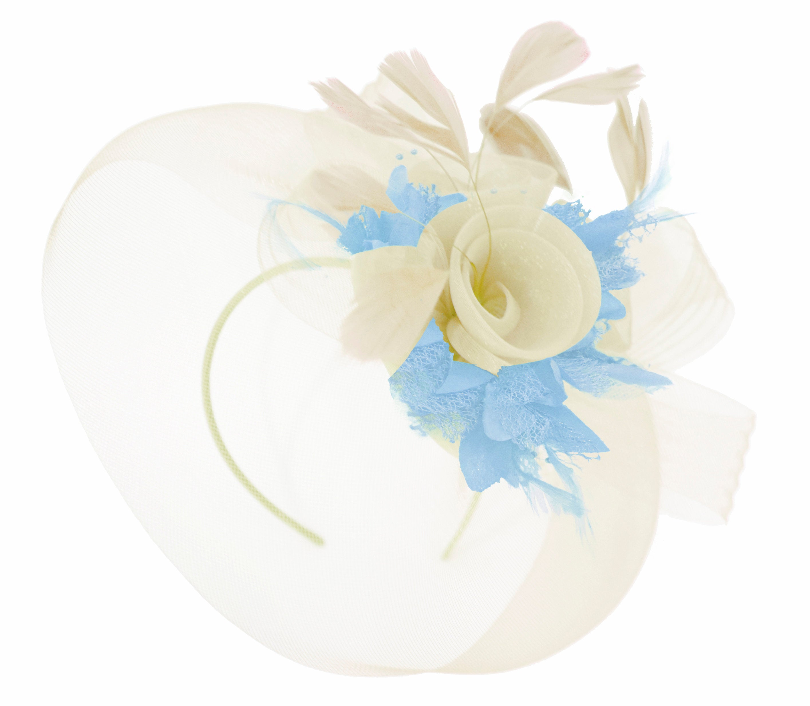 Caprilite Cream and Light Baby Blue Fascinator on Headband Veil UK Wedding Ascot Races Hatinator Women