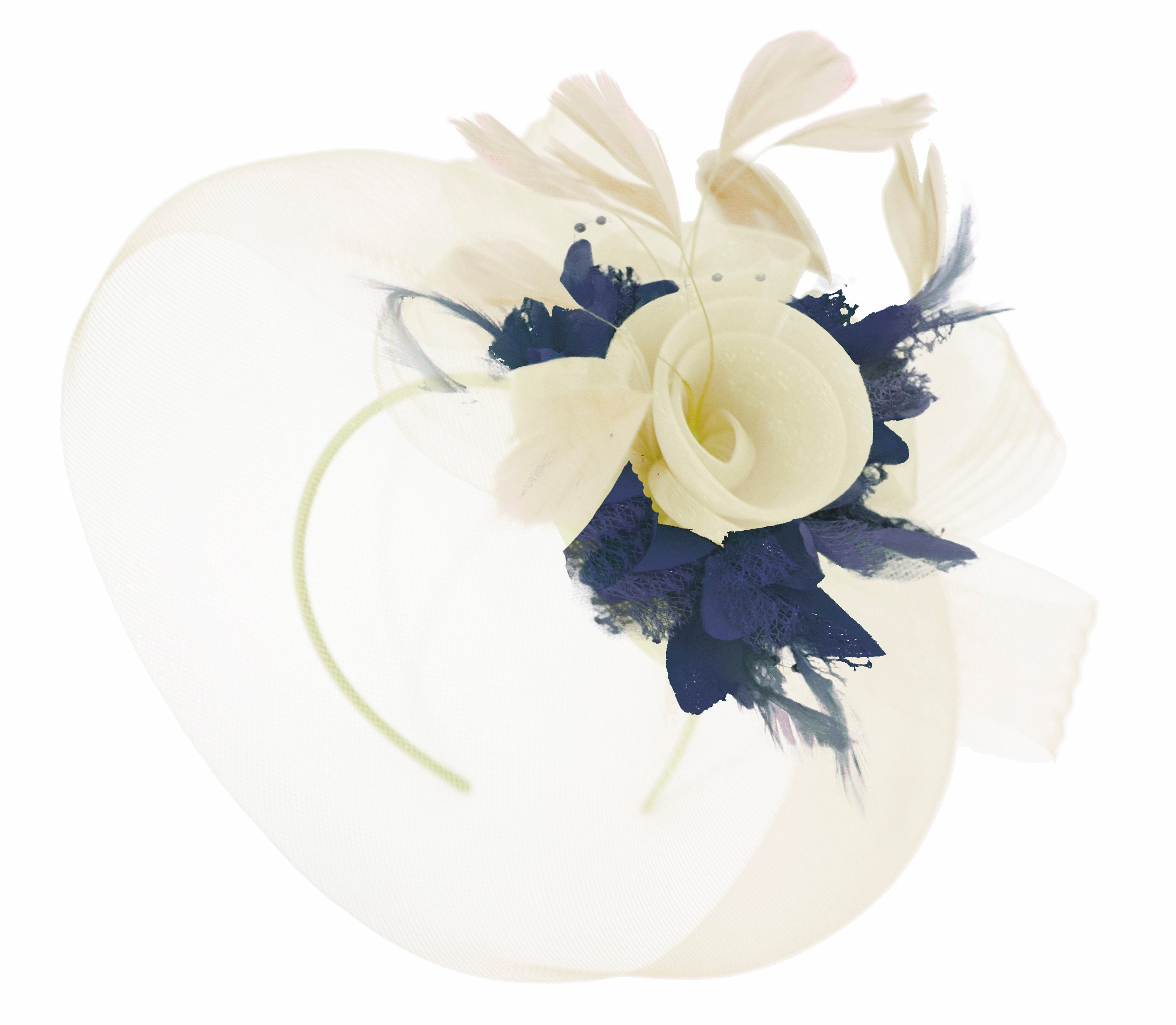 Caprilite Cream and Navy Fascinator on Headband Veil UK Wedding Ascot Races Hatinator Women