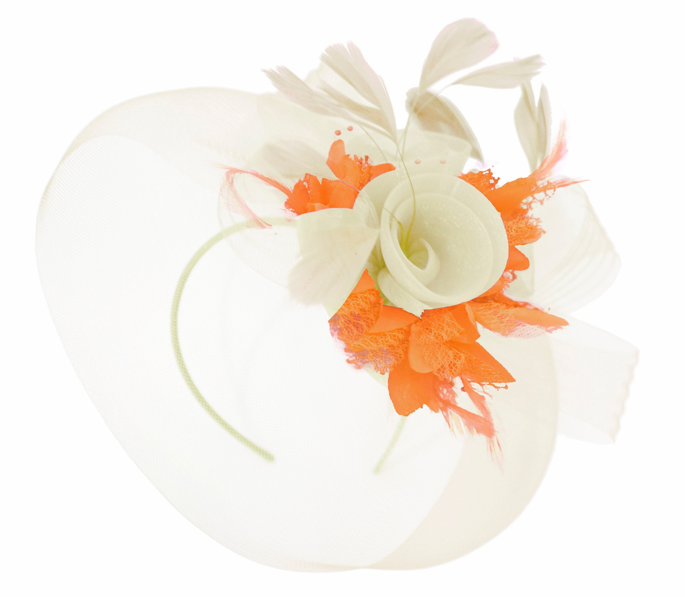 Caprilite Cream and Orange Fascinator on Headband Veil UK Wedding Ascot Races Hatinator Women