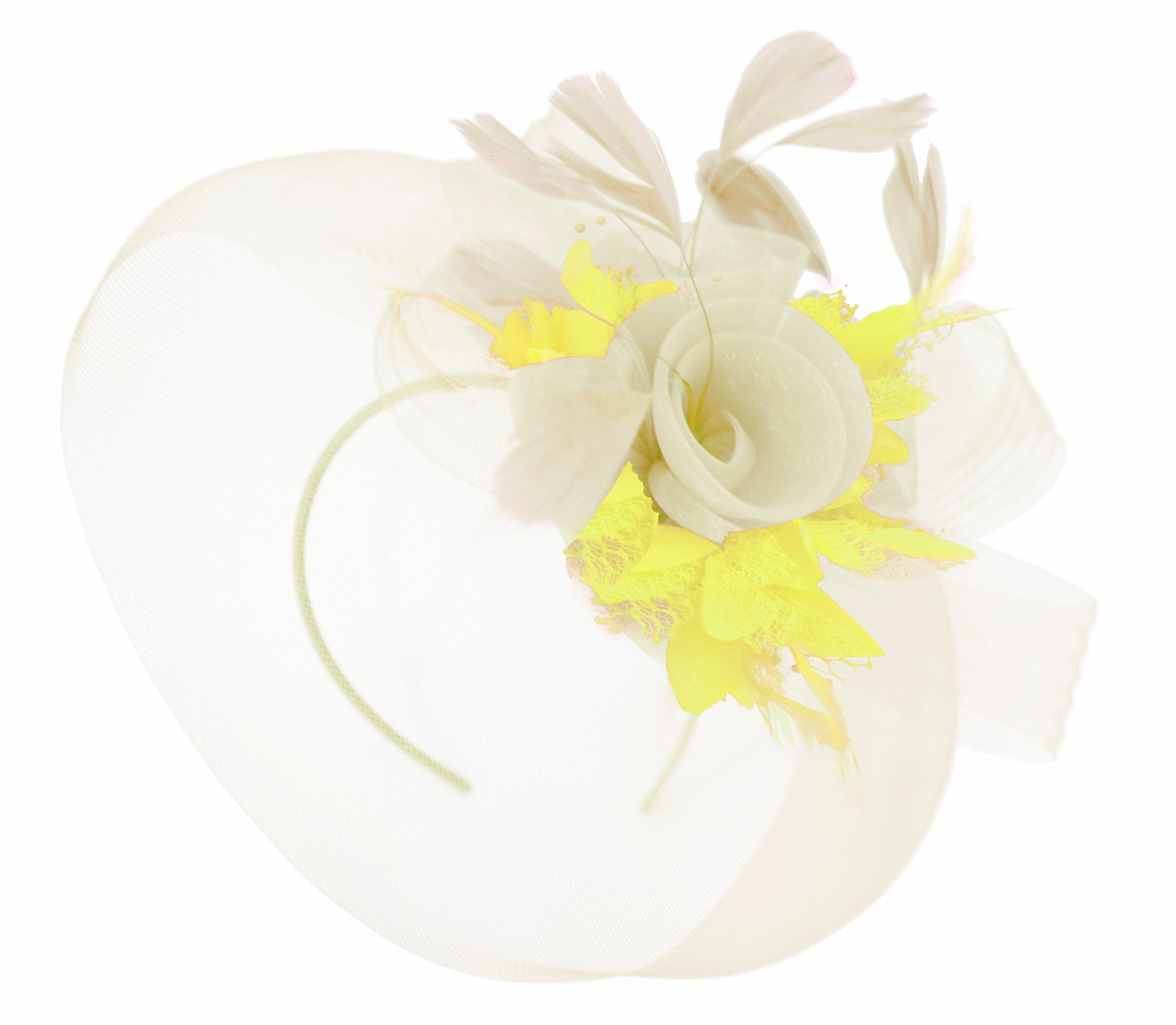 Caprilite Cream and Yellow Fascinator on Headband Veil UK Wedding Ascot Races Hatinator Women