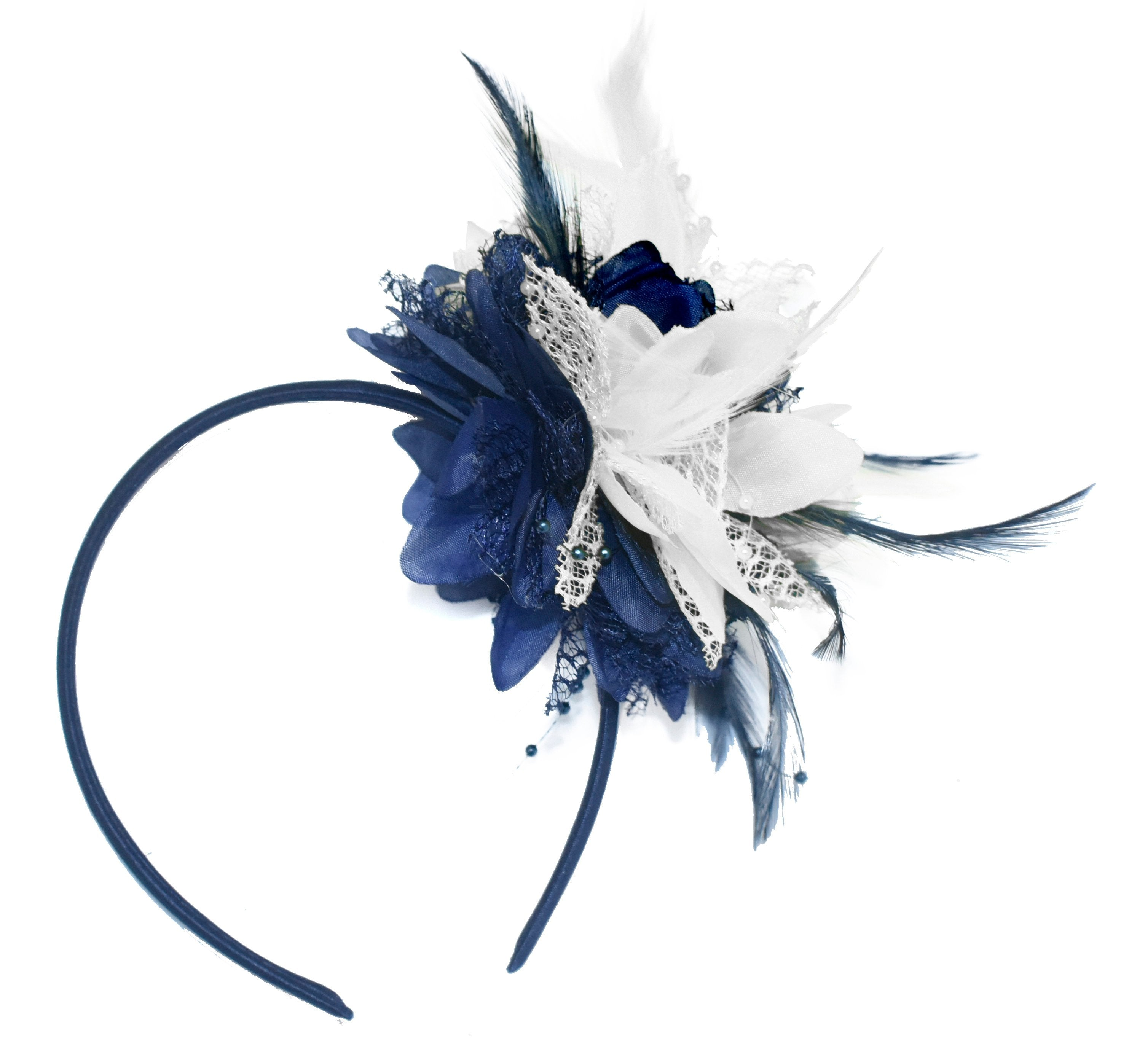 Caprilite Navy and White Fascinator Headband Hair Band Flower Corsage