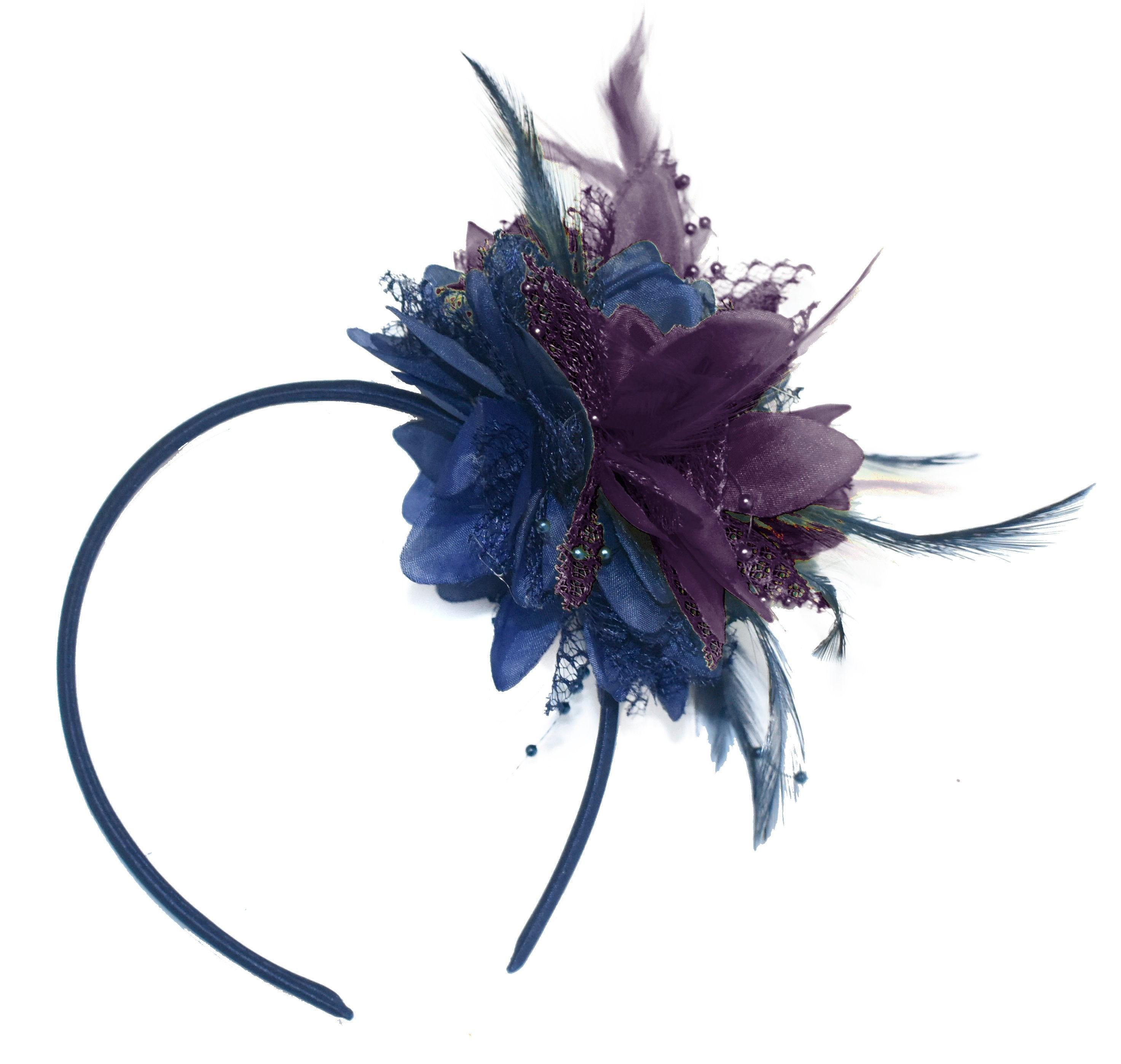 Caprilite Navy and Purple Fascinator Headband Hair Band Flower Corsage