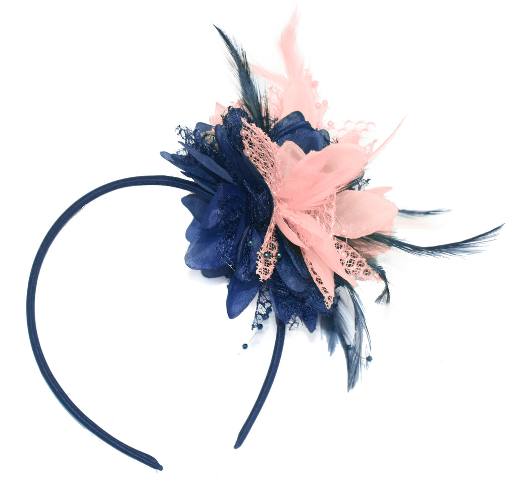Caprilite Navy and Peach Nude Fascinator Headband Hair Band Flower Corsage