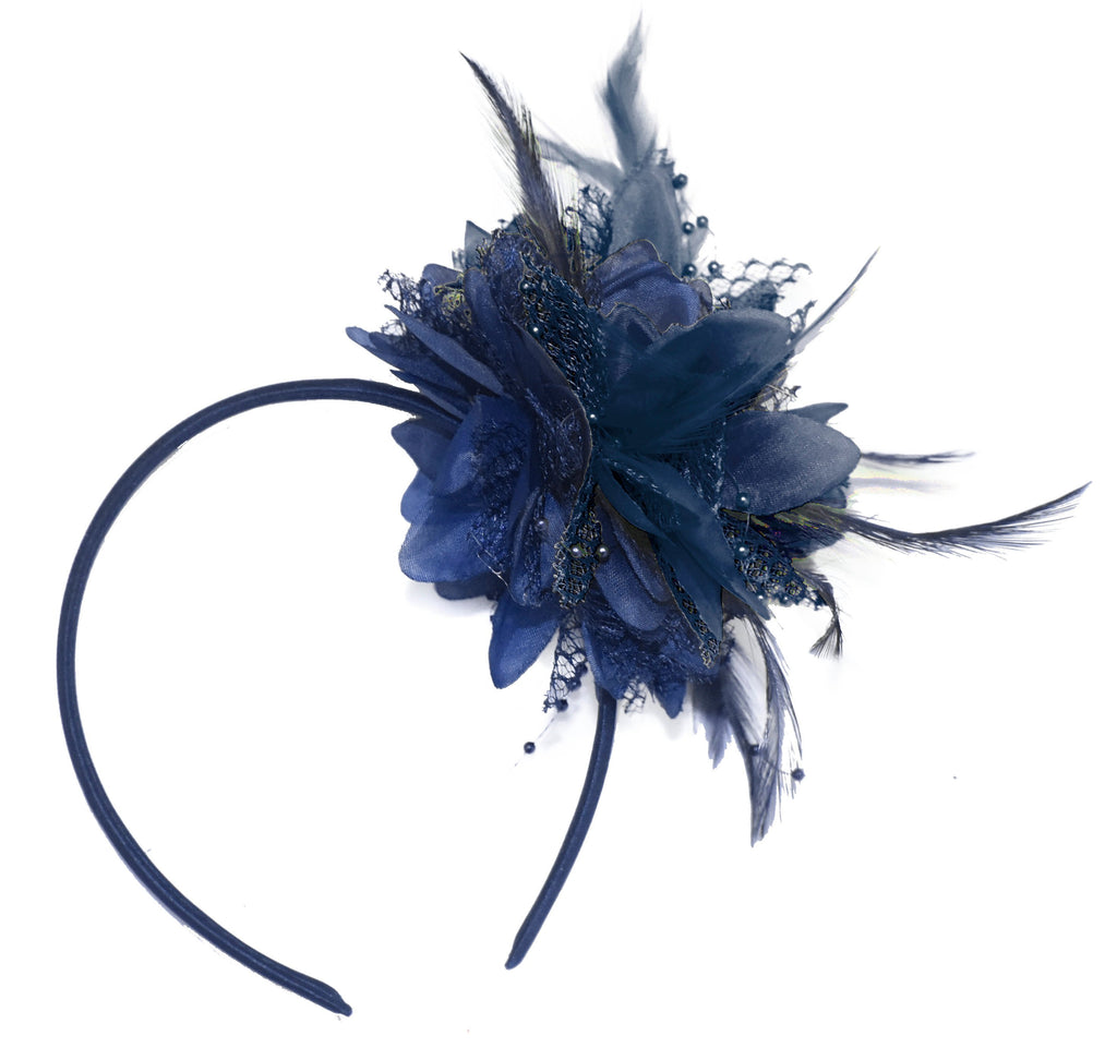 Caprilite Navy Blue Fascinator Headband Hair Band Flower Corsage