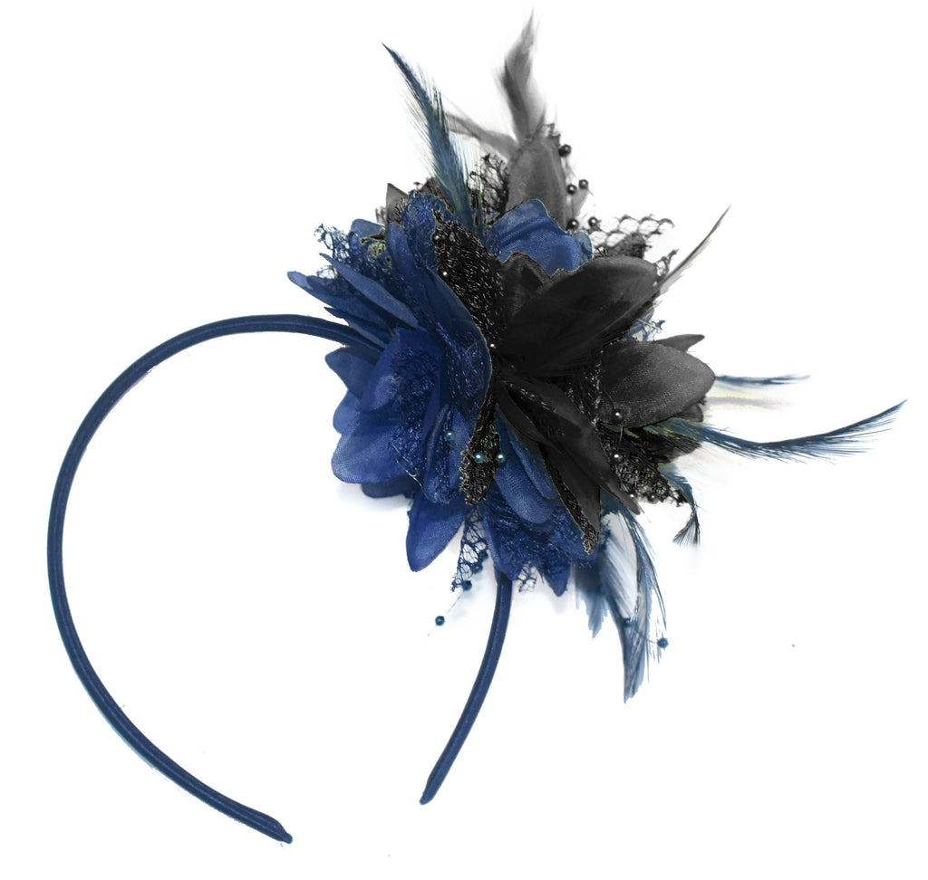 Caprilite Navy and Black Fascinator Headband Hair Band Flower Corsage