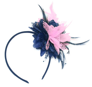 Caprilite Navy and Baby Pink Fascinator Headband Hair Band Flower Corsage