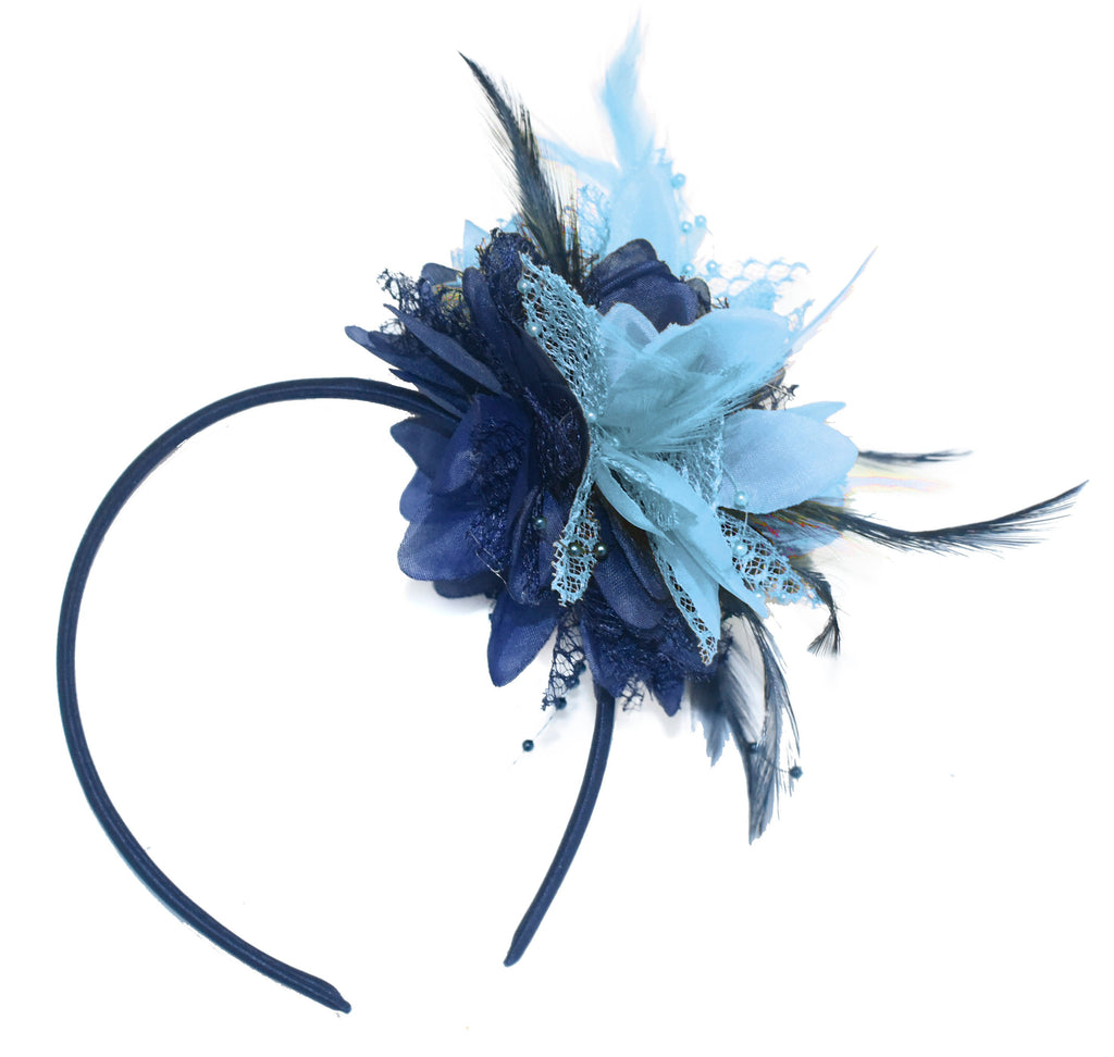 Caprilite Navy and Baby Blue Fascinator Headband Hair Band Flower Corsage