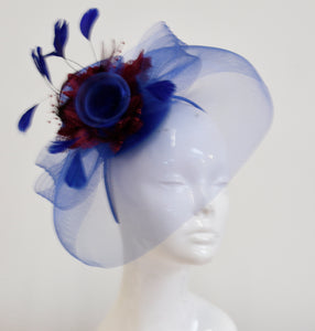 Caprilite Big Royal Blue and Burgundy Fascinator Hat Veil Net Hair Clip Ascot Derby Races Wedding Headband Feather Flower