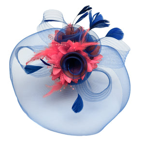 Caprilite Big Royal Blue and Coral Fascinator Hat Veil Net Hair Clip Ascot Derby Races Wedding Headband Feather Flower