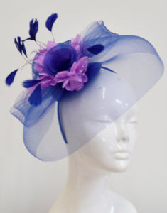 Caprilite Big Royal Blue and Lilac Fascinator Hat Veil Net Hair Clip Ascot Derby Races Wedding Headband Feather Flower
