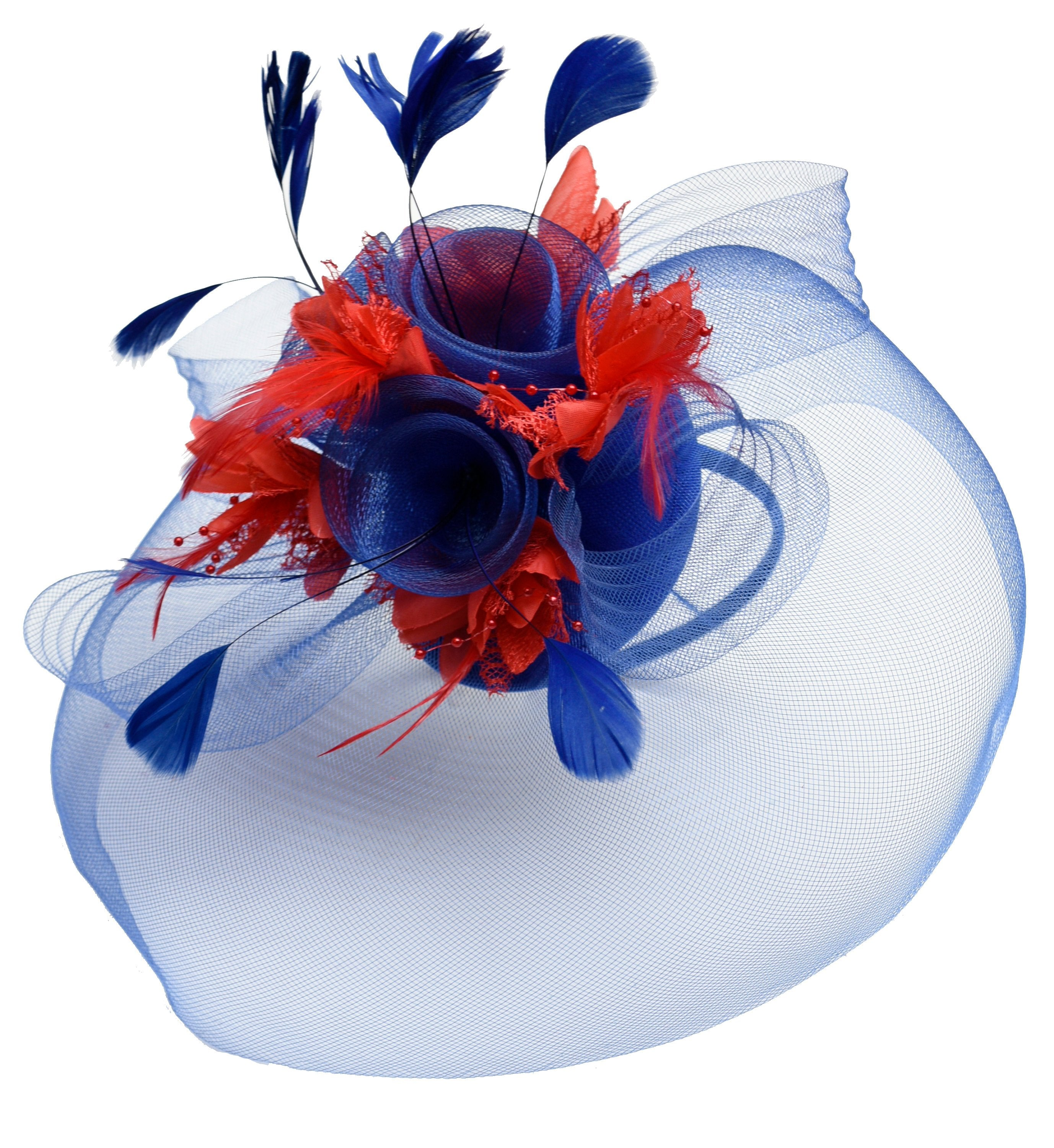 Caprilite Big Royal Blue and Red Fascinator Hat Veil Net Hair Clip Ascot Derby Races Wedding Headband Feather Flower