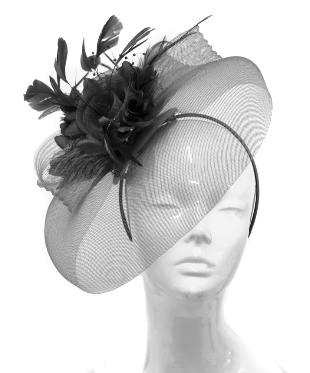 Caprilite Big Black and Black Fascinator Hat Veil Net Hair Clip Ascot Derby Races Wedding Headband Feather Flower