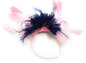 Caprilite Baby Pink Hoop & Navy Blue Feathers Fascinator On Headband