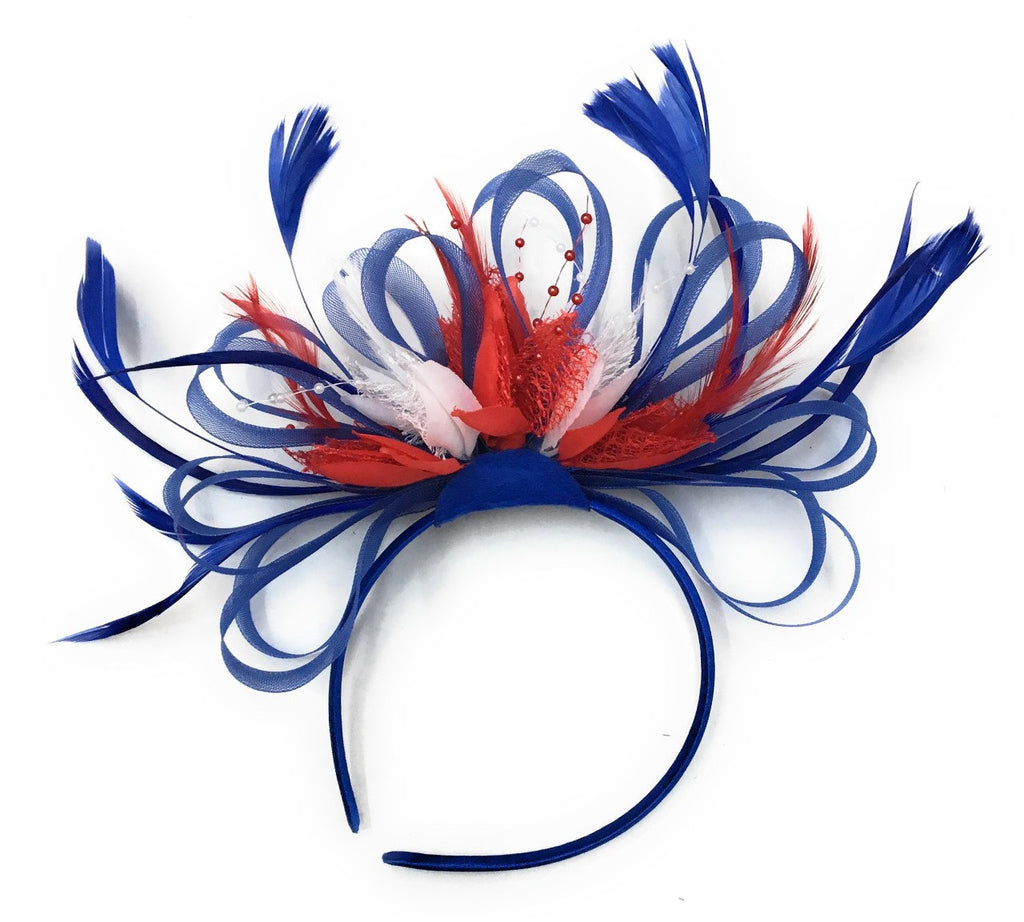Caprilite Blue Red & White Union Jack Fascinator on Headband Alice Band Royal Wedding Party Ascot Races Loop Net